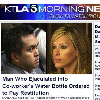 Homem terá que pagar indenização a colega por colocar sêmen em sua água