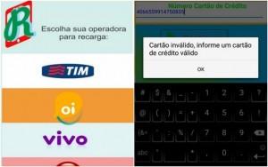 Falso aplicativo de celular cona cartão de crédito