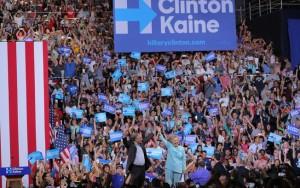 Falando em espanhol, Kaine faz primeira aparição ao lado de Hillary