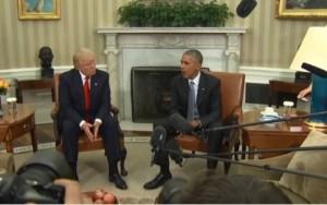 Em 1ª reunião na Casa Branca, Obama e Michelle se recusam a tirar foto com Trump