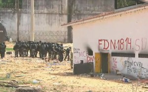 PM entra em Alcaçuz para construir muro e separar facções