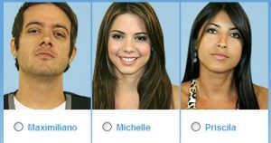 Vote no primeiro paredão do BBB (Big Brother Brasil) 9: Michelle, Max Porto e Priscila Pires